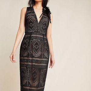 ML Monique Lhuillier Via Lace Midi Dress